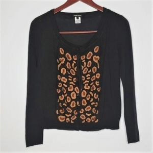 Nanette Lepore black and leopard print sweater XS